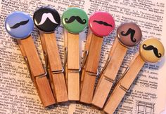 Mustache clothes pins for 2ND Birthday Party.