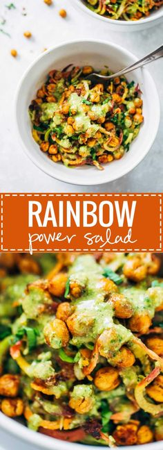 Creamy Spinach Sweet Potato Noodles with Cashew Sauce – Pinch of Yum Rainbow Power Salad with Roasted Chickpeas – a healthy, easy, colorful salad that will bring out your summer glow! SO YUMMY // vegan. Vegetarian Pad Thai, Vegetarian Recipes, Cooking Recipes, Healthy Recipes, Vegan Vegetarian, Paleo, Power Salat, Sweet Potato Noodles, Spiralizer Recipes