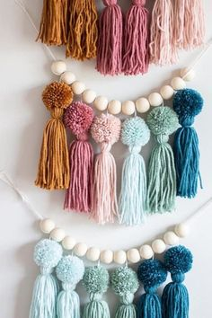 Nursery and Kids Room Decor. Yarn Crafts For Kids, Easter Crafts For Kids, Craft Stick Crafts, Crafts To Sell, Arts And Crafts, Diy Tassel Garland, Pom Pom Wreath, Tassels, Garlands