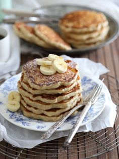 Banana Nutmeg Pancakes made extra fluffy with the addition of quick rise yeast