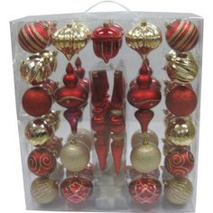 Holiday Time 54-Piece Shatterproof Christmas Ornament Set, Red and Gold - Walmart.com