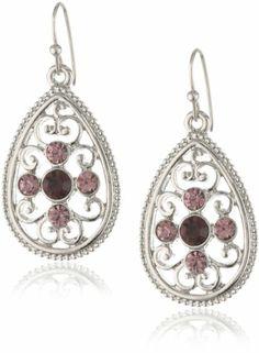 """1928 Jewelry """"Violet"""" Silver-Tone Amethyst Filigree Teardrop Earrings 1928"""