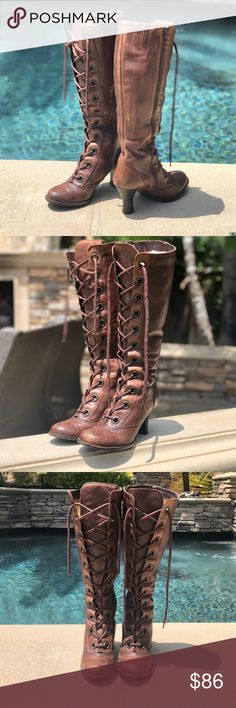 da470ae34 I just added this listing on Poshmark: Brown Leather Lace Up tall boots SZ  39