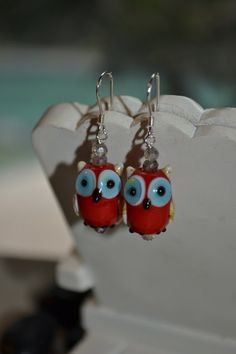 Dainty Red Owl Lamp work Glass Bead Earrings by uniquebeadingbyme