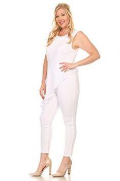 177292df014 Hadari Women s Plus Size Sexy Sleeveless Chiffon Jumpsuit Playsuit Romper  Plus Size Jumpsuit