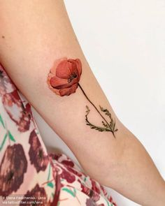 Watercolor poppy tattoo on the bicep. Watercolor Tattoo Shoulder, Watercolor Poppy Tattoo, Watercolor Galaxy Tattoo, Poppies Tattoo, Watercolor Poppies, Abstract Watercolor, Poppy Tattoo Sleeve, Sleeve Tattoos, Bicep Tattoos