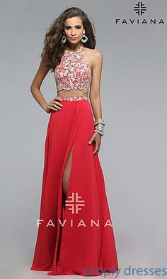 Shop long Faviana two piece lace prom dresses at SimplyDresses. Long designer dresses with embroidered lace crop tops and side slits.