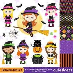 HALLOWEEN Digital Clipart Halloween Witch Clipart por Cutesiness
