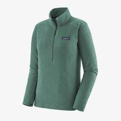 W's R1® Air Zip-Neck - Regen Green (REGG) (40250) Ultralight Outdoor Gear, Long Underwear, Fair Trade Fashion, Fleece Fabric, Sri Lanka, How To Look Better, Shirts, Zip, Clothes For Women
