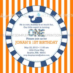 Whale Printable Birthday or Baby Shower Invite - Dimple Prints Shop