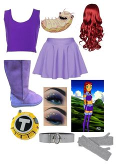 """Starfire inspired outfit"" by angelbunnie ❤ liked on Polyvore featuring AnastasiaChatzka, UGG Australia, Coccinelle and Johnstons of Elgin"