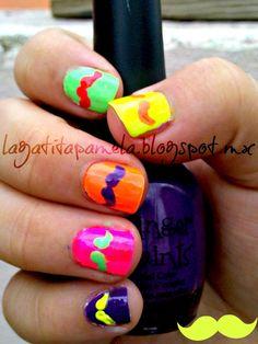 Gatita's nail art: Unias De Bigotes Neón- Mustache Neon Nails
