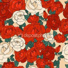 Бесшовный образец с розами — Stock Illustration #81903712
