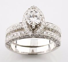 18k White Gold Round Cut Almond-Shape Halo Set Diamond Wedding Set TDW = 1.71 ct #Unbranded