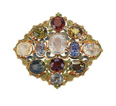 Gold, Sapphire, Zircon, and Enamel Brooch circa 1900 by Tiffany & Co.