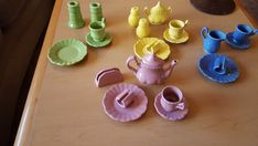 25 Pc Vintage Frenzy Toys Play Dishes Girls China Tea Set Pretend Fiestaware mod #Frenzy