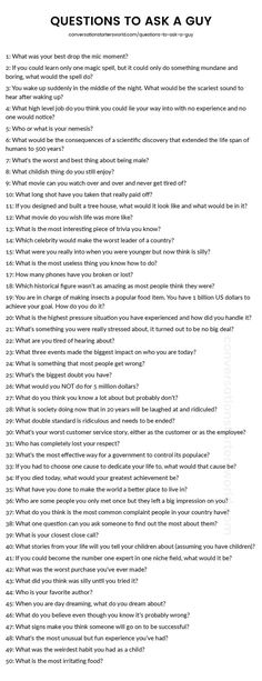 Loads of great questions to ask a guy! Loads of great questions to ask a guy! The post Loads of great questions to ask a guy! Journal Prompts, Writing Prompts, Conversation Starter Questions, Random Conversation Starters, Deep Conversation Topics, Inspirierender Text, Getting To Know Someone, Questions To Get To Know Someone, Deep Questions To Ask
