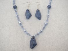 Blue Marbled Swarovski Pearl Pendant Necklace by jazzybeads