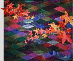Autumn Leaves Colorwash Diamonds Quilt