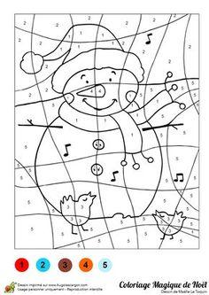 Coloriage magique d'un bonhomme de neige qui chante avec les oiseaux. Christmas Games, Christmas Activities, Christmas Printables, Christmas Colors, Christmas Holidays, Animal Coloring Pages, Colouring Pages, Coloring Pages For Kids, Coloring Books