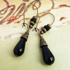 Black Onyx Earrings in Antiqued Brass, Handmade Gemstone Bead Jewelry, Kidney Ear-wires