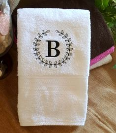 White Embroidered Bath Towel Set Beautiful by EmbroideryDesignUltd - Bath Towel - Ideas of Bath Towel Towel Embroidery, Embroidery Monogram, Machine Embroidery, Embroidery Designs, Best Bath Towels, Vintage Wreath, Wedding Embroidery, Baby Boy, Branding