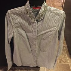 Elle jeweled collar button up Never worn! Make an offer! Elle Tops Button Down Shirts