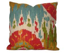 Ikat Pillow Cover - Santana Garden Ikat in Red, Blue, Green, Orange & Yellow - Decorative Pillow - Accent Pillow - Sofa Pillow