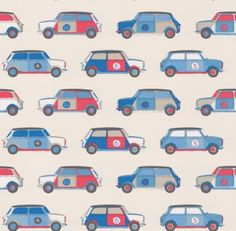 Pop Cars (J146W-03) - Jane Churchill Wallpapers - A pop art inspired design with boldly coloured images of retro mini cars in neat rows, for car lovers of all ages. Shown in the blue / red colourway on an off white background. Please request sample for true colour match. Pattern repeat is 17 cm.