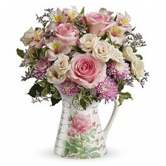 Spring Flowers & Water Pitcher for a Birthday at Send Flowers online. Shop Pastel Flower Bouquets and enjoy Same Day Delivery! Shop Spring Bouquets now.