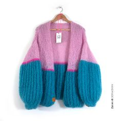 This is a unique handmade luxury pink-green mohair cardigan. This beautiful card., This is a unique handmade luxury pink-green mohair cardigan. This beautiful cardigan is made of a high quality mohair and does not pill. Rainbow Cardigan, Rainbow Outfit, Hand Knitting, Knitting Patterns, Knitting Ideas, Mohair Yarn, Mohair Sweater, Knit Fashion, Mode Outfits