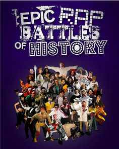 ERB Poster design with all the characters from seasons 1 and 2 - Epic Rap Battles of History Merchandise Design on Behance #graphic #merchandise #poster #YouTube #EpicRapBattlesofHistory #design #EpicLloyd #NicePeter #Photoshop