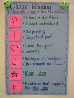 """Our """"Close Reading"""" Annotation Symbols. In our class, we call it """"Reading with a"""