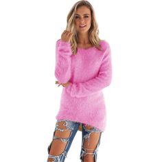 Autumn Women Fashion Colourful Soft Knitted Sweater Lady Casual Fit Long Sleeve Knitwear Jumper Knitwear Outwear Camisola Oct18