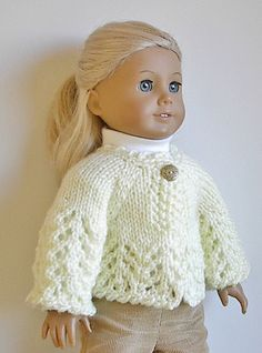 American Girl Doll Knitted Sweater Jacket in Cream or Offwhite for 18 Inch Dolls - You Choose Button