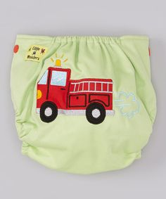 Take a look at this Green Fire Truck Pocket Diaper I bought at zulily today!