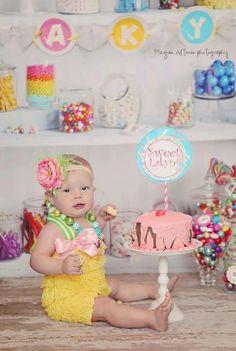 Candy Shoppe cake smash romper headband set by TutuGraceful, $35.50