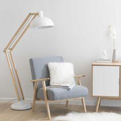 Stehlampe ICE aus Holz und weißem Metall von Maison du Monde
