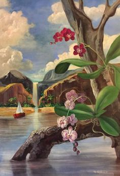 A surrealistic, dreamy landscape frames the beauty of orchids growing in their natural environment. Like a dream, this place awakens our thoughts to paradise worlds one often reflects on.