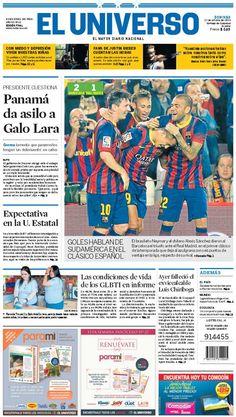 Portada de #DiarioELUNIVERSO del 27 de octubre del 2013.  Las noticias del día en: www.eluniverso.com