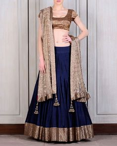 Navy Blue Raw Silk Lehenga - Manish Malhotra - Designers
