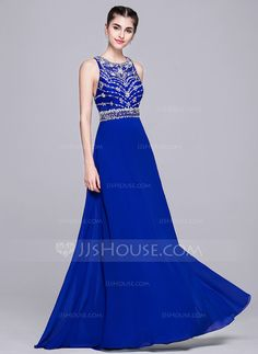 [US$ 174.99] A-Line/Princess Scoop Neck Floor-Length Chiffon Evening Dress With Beading Sequins