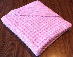 Crocheted Baby Afghan, Pastel Pink Hooded Crochet Baby Afghan. $35.00, via Etsy.