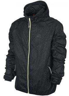Mens New Nike Packable Windbreaker Hooded Jacket Anorak Zip Hoodie - Black