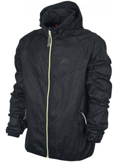 Mens New Nike Packable Windbreaker Hooded Jacket Anorak Zip Hoodie - Black