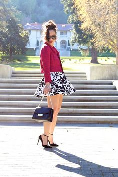 Leaf Print Skater Skirt - KTRcollection