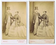 Scotland c1860s 2 CDV Photos of Man Lady with Hats by Moffat | eBay