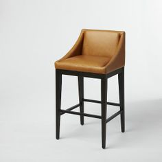 Curved Bar Stool, Honey Leather