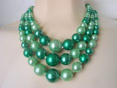 """""""Fabulous Color!"""" describes this mid century vintage bead bib necklace presented by JoysShop for consideration.  The necklace features graduated glass beads in two shades o... #teamlove #voguet"""