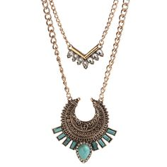 Water Drop Turquoise Metal Pendant Necklaces For Women Gold Bohemia Multi Long Chains Fashion Jewelry Collier Femme Bijous 16040
